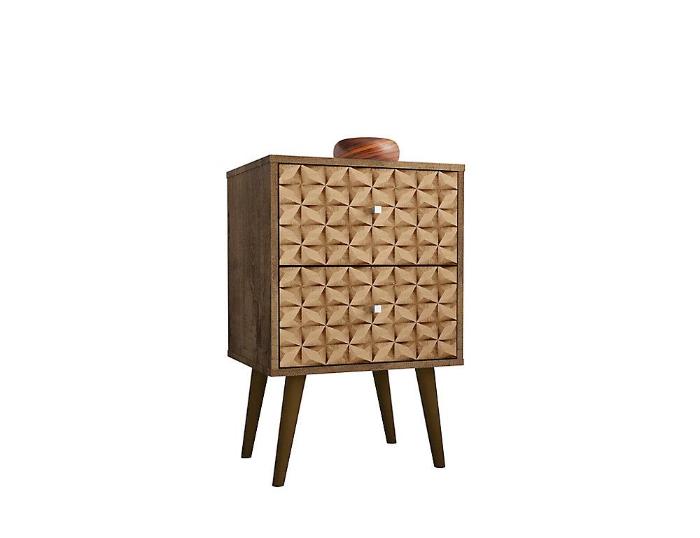 Table de nuit Liberty 2.0 en brun rustique et impressions marron 3D
