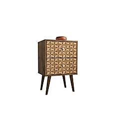 Liberty Nightstand 2.0 in Rustic Brown and 3D Brown Prints