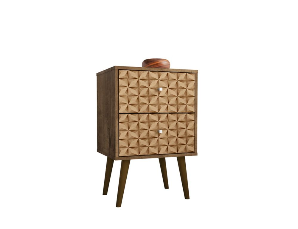 Manhattan Comfort Liberty Nightstand 2.0 in Rustic Brown and 3D Brown Prints
