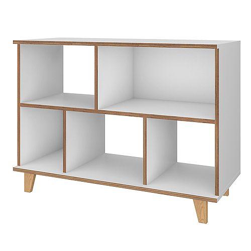 Manhattan Comfort Minetta Low Bookcase in White