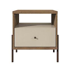 Manhattan Comfort Joy Table de nuit en blanc cassé