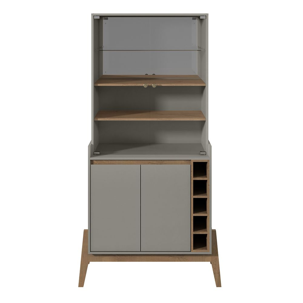 Manhattan Comfort Essence Wine Closet in Grey