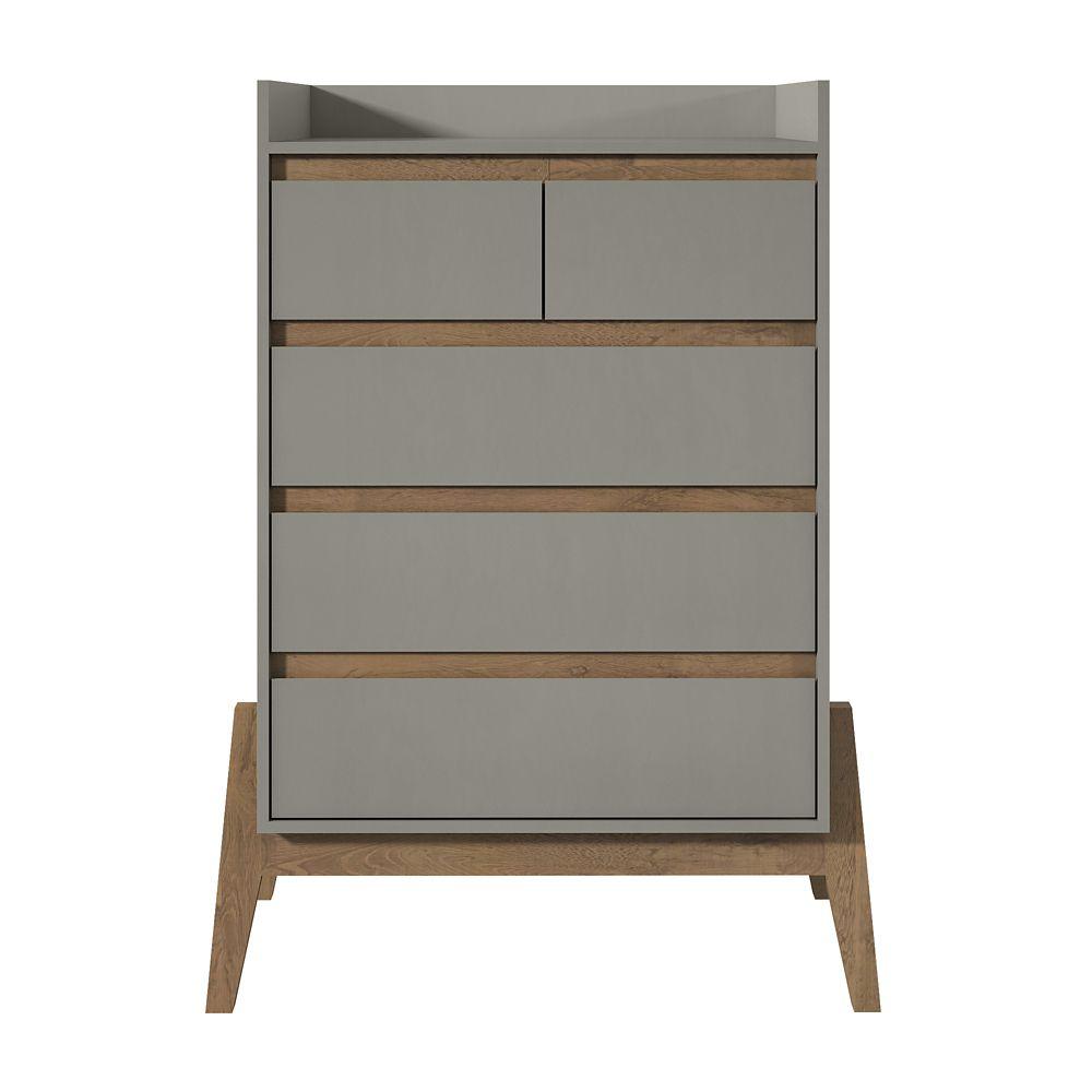 "Manhattan Comfort Essence 48.23"" Tall Dresser in Grey"