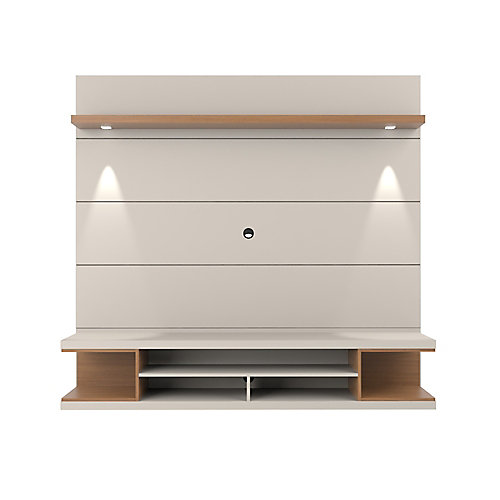 Utopia Floating theatre Entertainment Center in Off White and Maple Cream