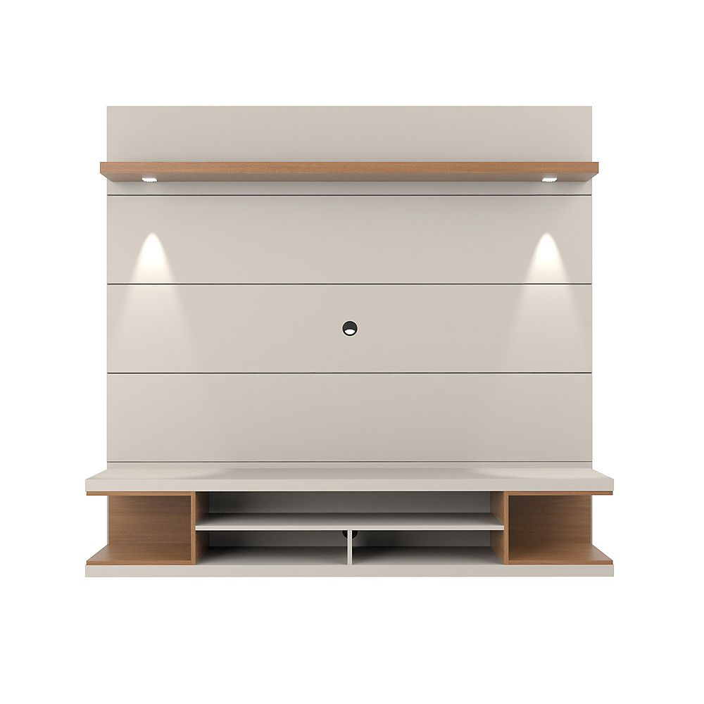 Manhattan Comfort Utopia Floating theatre Entertainment Center in Off White and Maple Cream