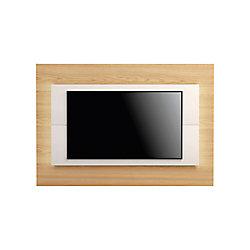 "Manhattan Comfort Sylvan 70.86"" TV Panel in Nature Wood and Off White"