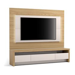 """Manhattan Comfort Sylvan 70.86"""" TV Stand and Panel in Nature Wood and Off White"""