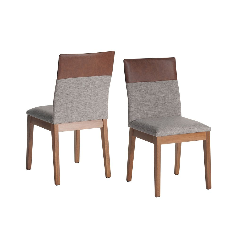 Manhattan Comfort Duke 2-Piece Dining Chair in Grey and Brown