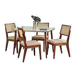 """Manhattan Comfort Charles 45.27"""""""" and Pell 5-Piece Dining Set in Off White and Dark Beige"""