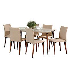 """Manhattan Comfort Charles 62.99"""""""" 7-Piece Dining Set in Off White and Dark Beige"""