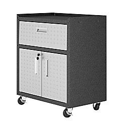 "Manhattan Comfort Fortress 31.5"" Mobile Garage Cabinet with Drawer and Shelves"