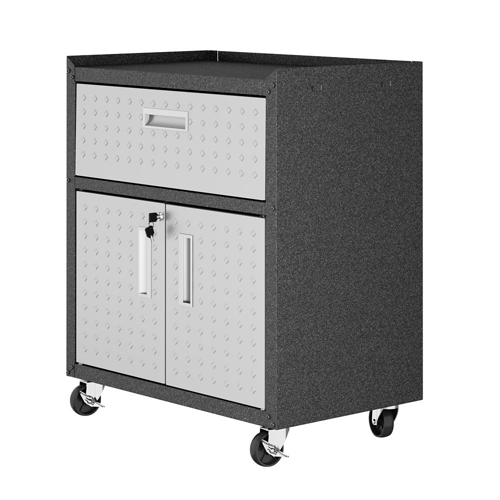 """Manhattan Comfort Fortress 31.5"""" Mobile Garage Cabinet with Drawer and Shelves"""