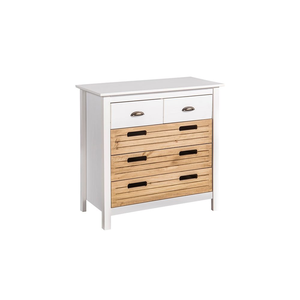 """Manhattan Comfort Irving 31.1"""" Double Wide Dresser in White and Natural Wood"""