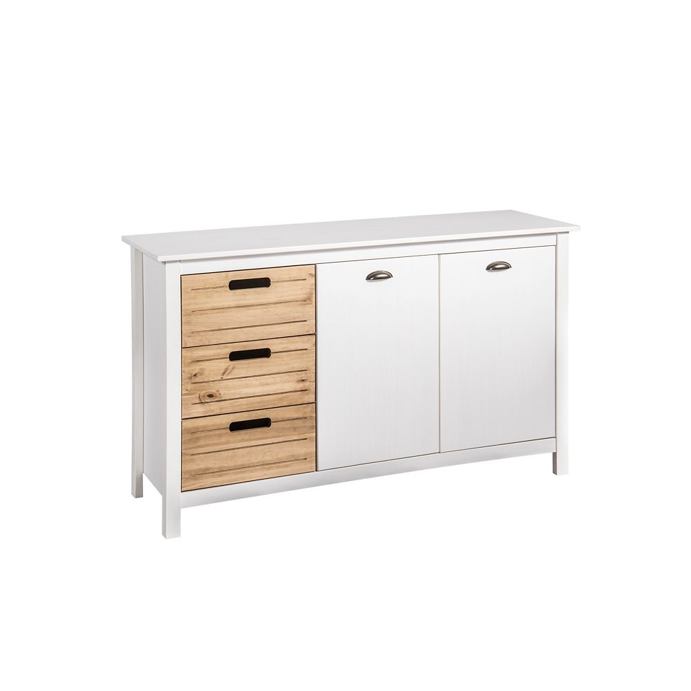 Manhattan Comfort Irving 51 18 Dresser Cabinet In White And Natural Wood