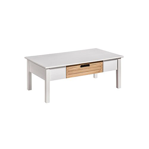 Manhattan Comfort Irving Coffee Table in White and Natural Wood