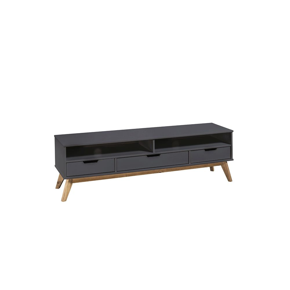 "Manhattan Comfort Vandalia 55.11"" TV Stand 1.0 in Dark Grey"