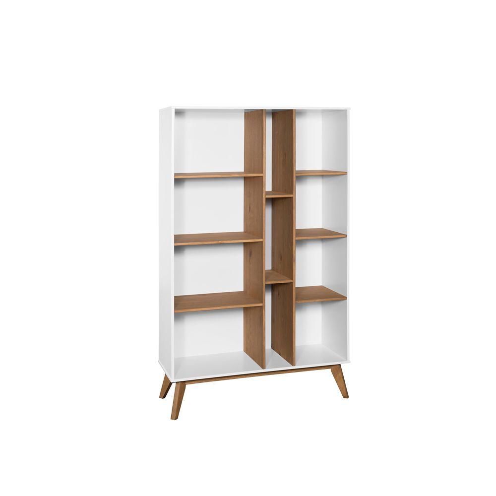 Manhattan Comfort Vandalia Bookcase in White and Natural Wood