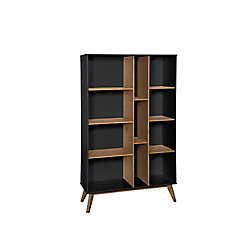 Manhattan Comfort Vandalia Bookcase in Dark Grey and Natural Wood