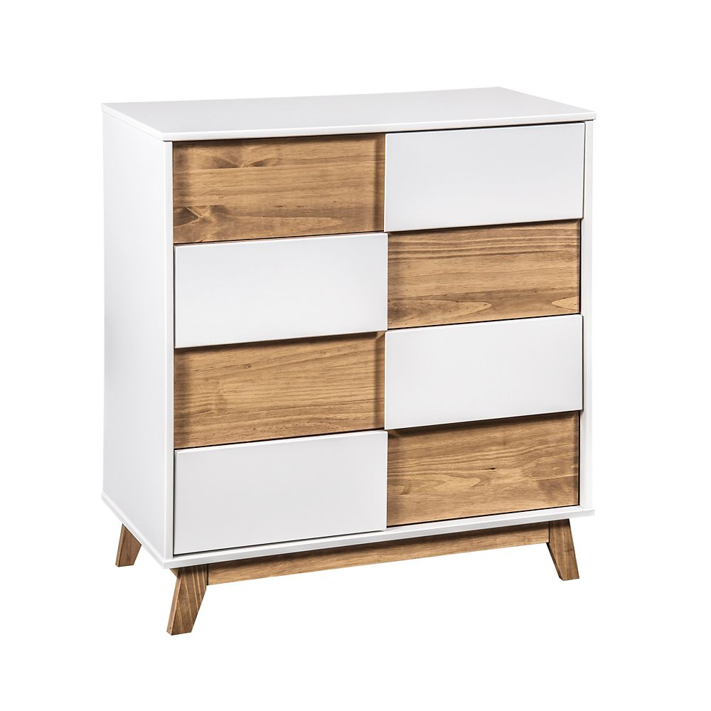 """Manhattan Comfort Livonia 31.49"""" Wide Dresser 2.0 in White and Natural Wood"""