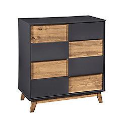 "Manhattan Comfort Livonia 31.49"" Wide Dresser 2.0 in Dark Grey and Natural Wood"