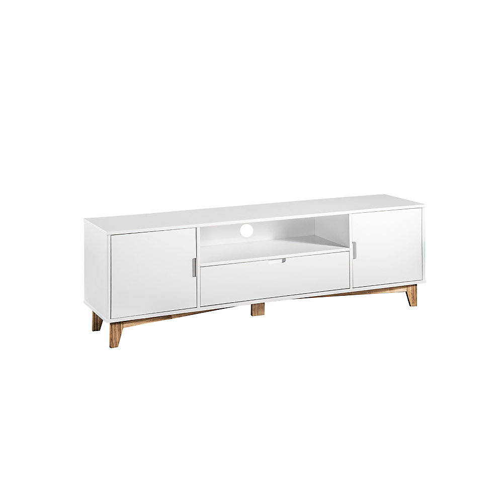 "Glenmore 62.99"" Tv Stand in White and Natural Wood"