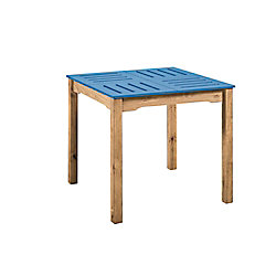 """Manhattan Comfort Stillwell 31.5"""" Square Table in Blue and Natural Wood"""