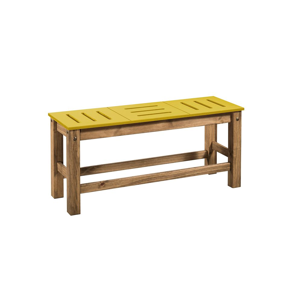"""Manhattan Comfort Stillwell 2-Piece 37.8"""" Bench in Yellow and Natural Wood"""