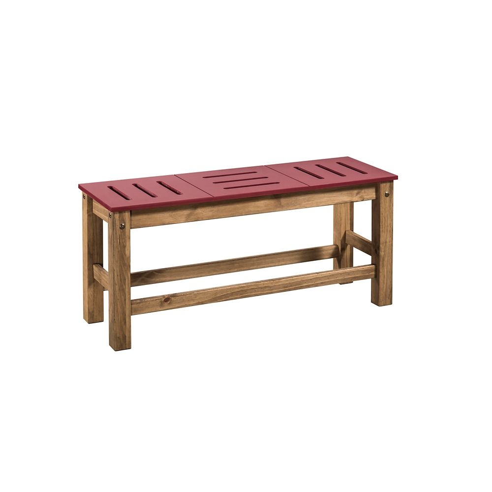 "Manhattan Comfort Stillwell 2-Piece 37.8"" Bench in Red and Natural Wood"
