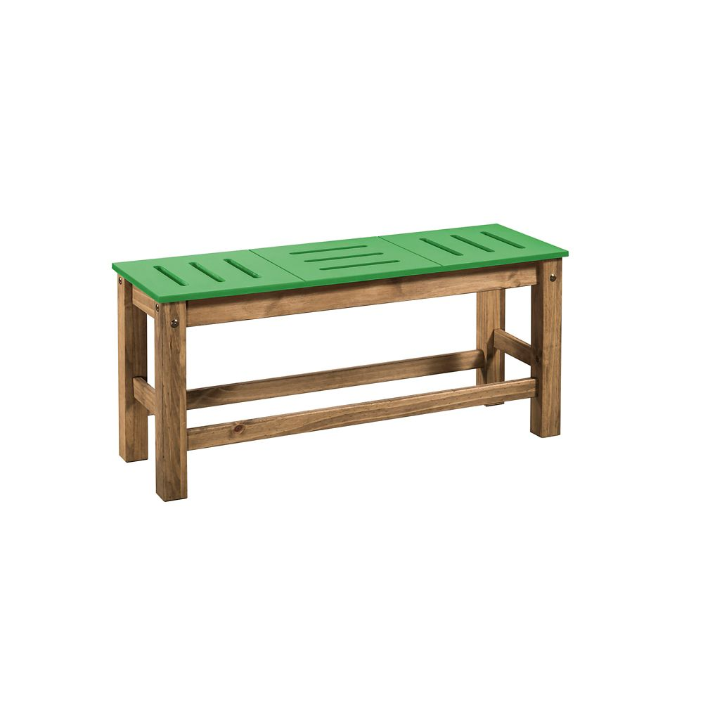 "Manhattan Comfort Stillwell 2-Piece 37.8"" Bench in Green and Natural Wood"