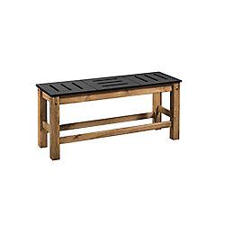 "Manhattan Comfort Stillwell 2-Piece 37.8"""" Bench in Black and Natural Wood"