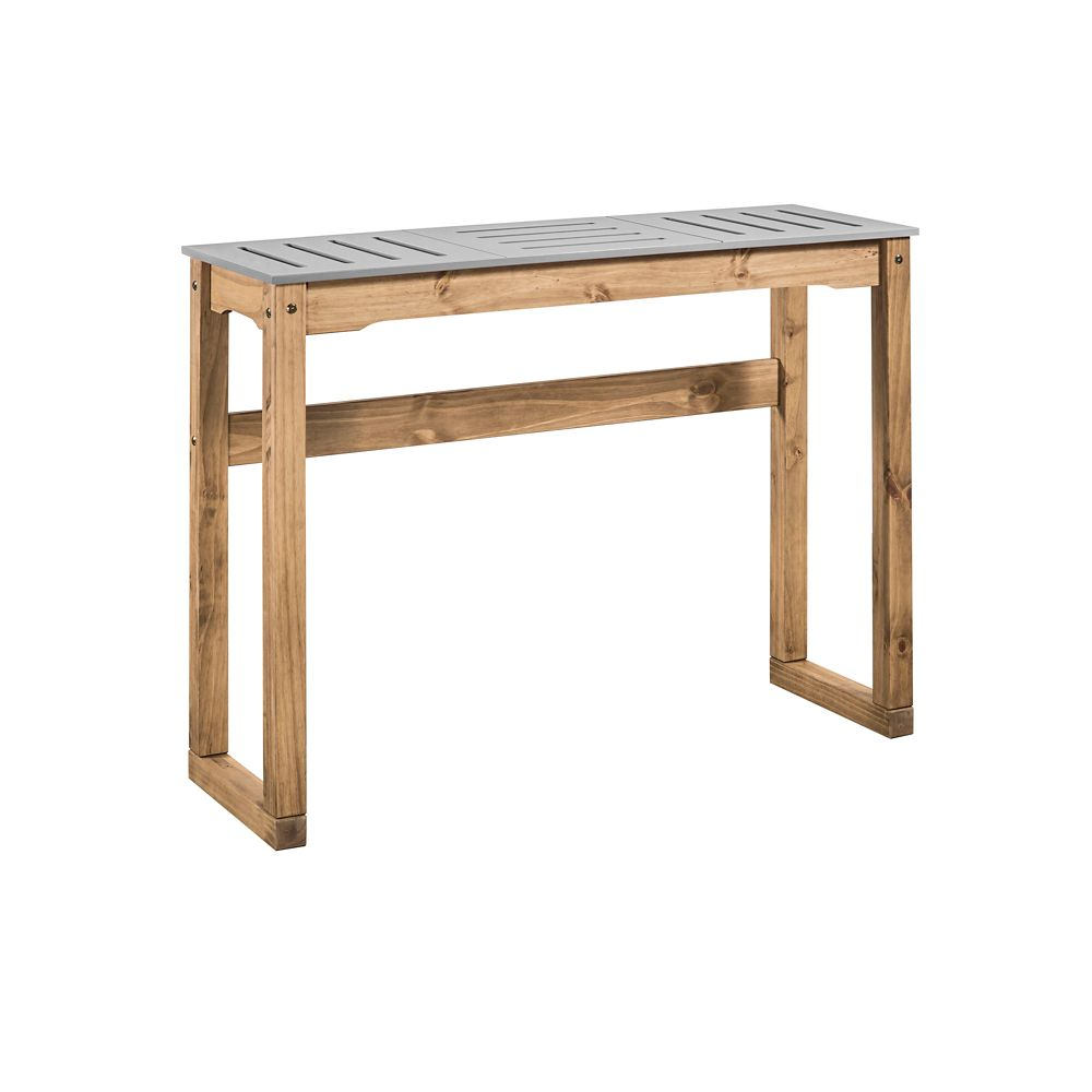"""Manhattan Comfort Stillwell 47.3"""" Bar Table in Gray and Natural Wood"""