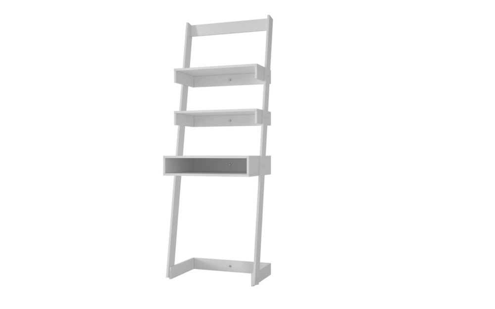 Accentuations by Manhattan Comfort Carpina Ladder Desk with  2 shelves in White