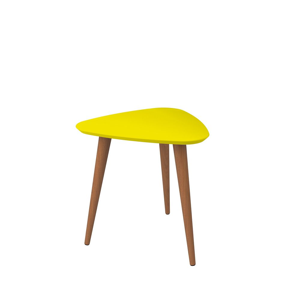 """Manhattan Comfort Utopia 19.68"""" High Triangle End Table With Splayed Wooden Legs in Yellow"""