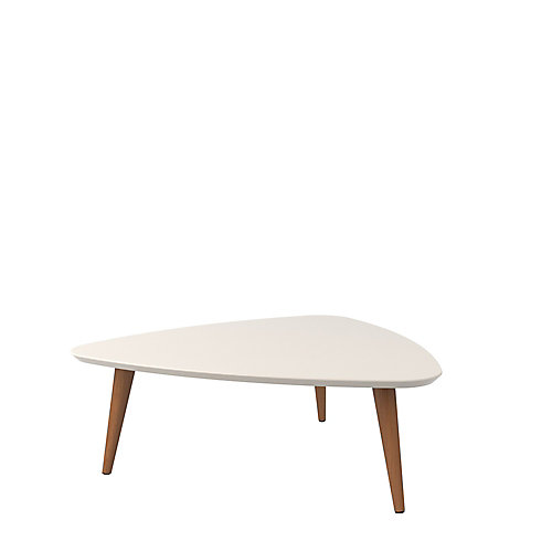 """Utopia 11.81"""" High Triangle Coffee Table with Splayed Legs in White Gloss and Maple Cream"""