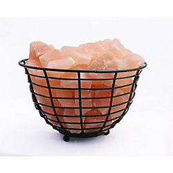"""Accentuations by Manhattan Comfort 9"""" Himalayan Wired Basket Lamp 2.0 with Natural Rocks  with dimmer"""