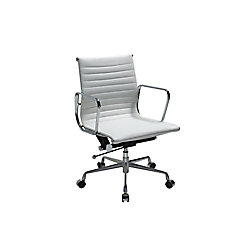 Manhattan Comfort Ellwood Mid-Back Adjustable Office Chair in White