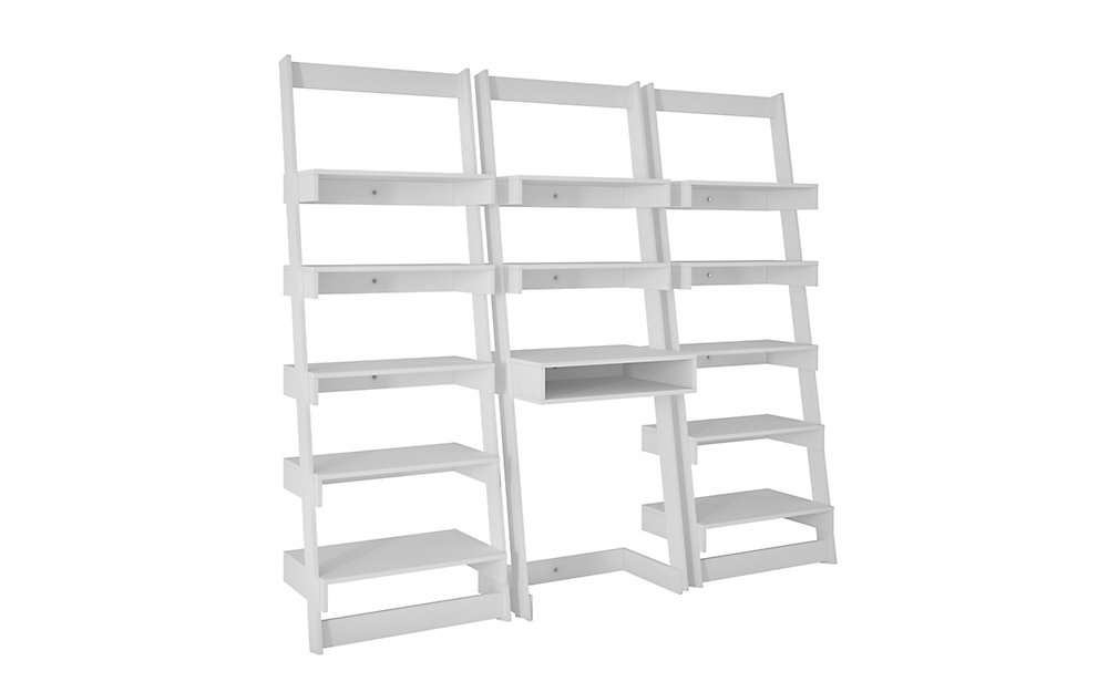 Carpina Bureau de bureau 3 pièces et étagère en blanc