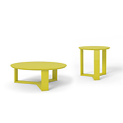 Manhattan Comfort Madison 2-Piece Accent Table Living Room Set in Lime Gloss