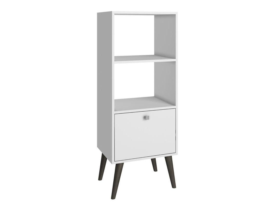 Accentuations by Manhattan Comfort Sami Double Bookcase with  2 shelves in White