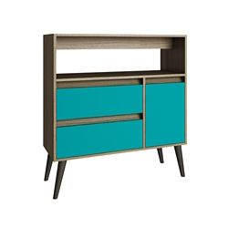 Accentuations by Manhattan Comfort Gota High Side Table with  1 shelves in Oak/ Aqua/ Grey