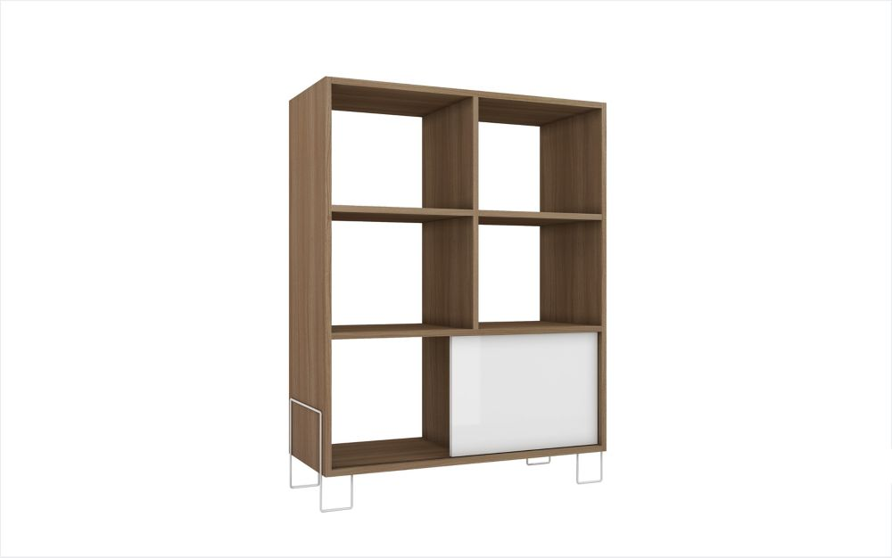Accentuations by Manhattan Comfort Boden Mid-High Side Stand  with  6 shelves in Oak and White