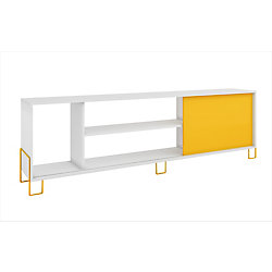 Accentuations by Manhattan Comfort Nacka TV Stand 1.0 with  4 shelves in White and Yellow