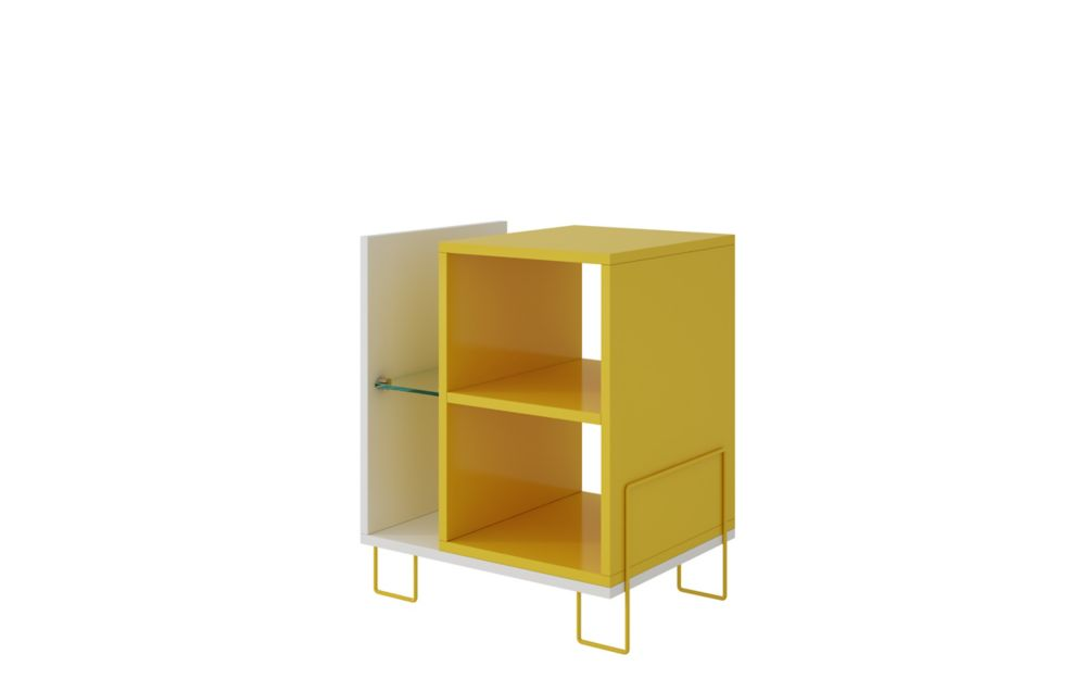 Manhattan Comfort Boden Bookcase 2.0 with 4 Shelves in White and Yellow