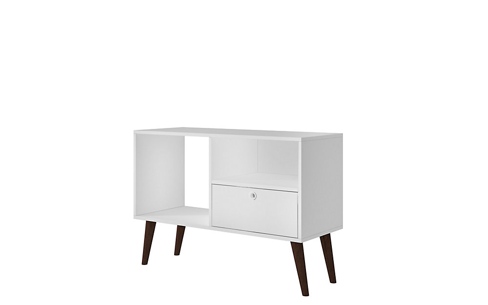 """Bromma 35.43"""" TV Stand with 1 Drawer and 2 Shelves in White"""