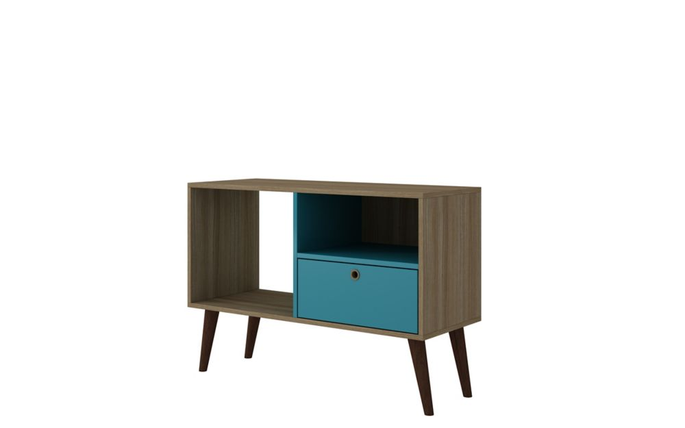 """Manhattan Comfort Bromma 35.43"""" TV Stand with 1 Drawer and 2 Shelves in Oak and Aqua"""