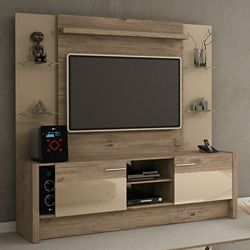 Manhattan Comfort Morning Side Freestanding theatre Entertainment Center in Nature and Nude