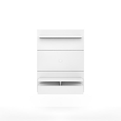 Manhattan Comfort City 1.2 Floating Wall theatre Entertainment Center in White Gloss