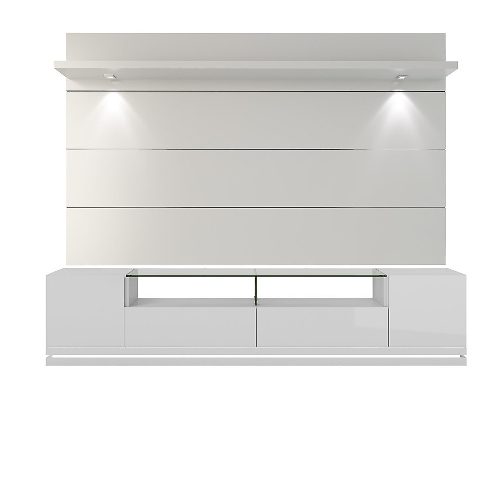 Vanderbilt TV Stand and Cabrini 2 2 Floating Wall TV Panel with LED Lights  in White Gloss