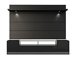 Vanderbilt TV Stand and Cabrini 2.2 Floating Wall TV Panel with LED Lights in Black