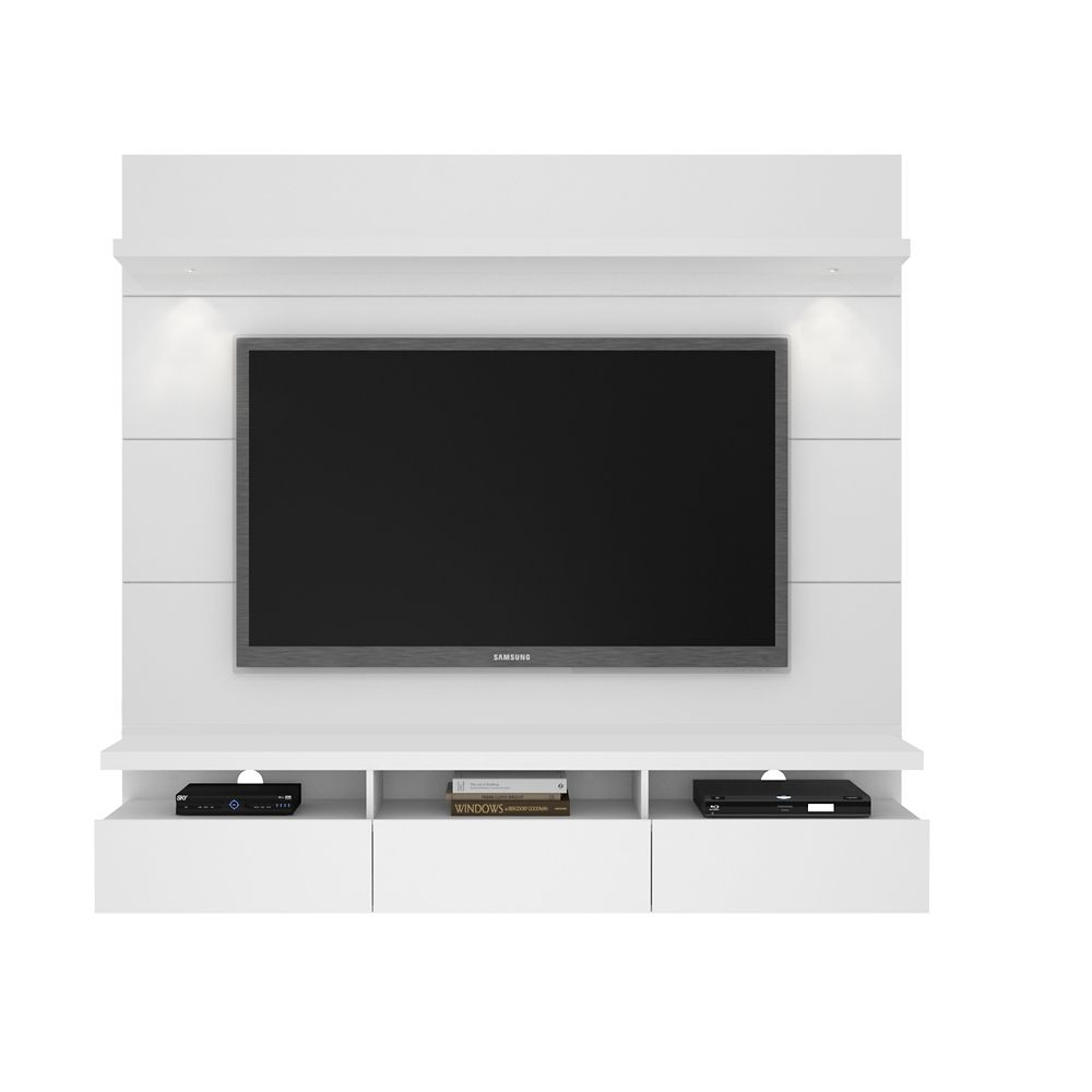 Manhattan Comfort Cabrini 1.8 Floating Wall Theater Entertainment Center in White Gloss